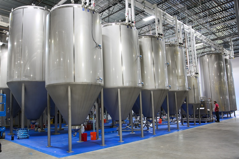 Fermenters in a 50BBL brewhouse