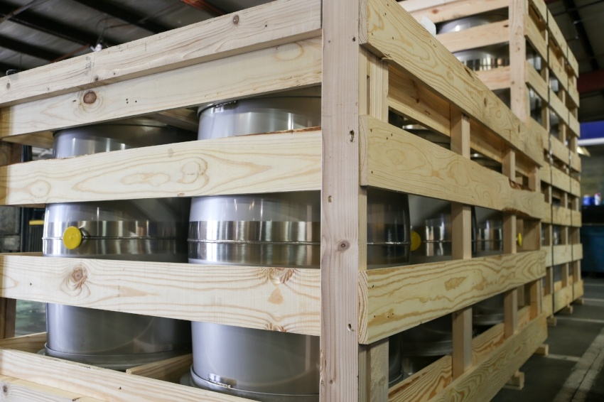 Stainless Steel Wine Barrels In A Crate